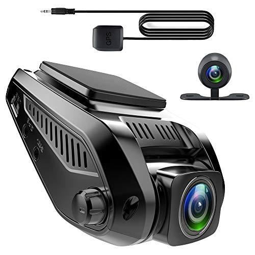 Recorder de conducción de automóviles, conexión Directa de teléfonos móviles WiFi, Pantalla HD de 2.4 Pulgadas, Lente Doble de 1080p Full HD, Gran Angular de 170 Grados, visión súper Nocturna, DVR de
