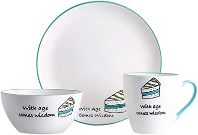 SEEKSUNG 4 Piece Full Set, Service for one,Stackable Dinner Plates,Bowls,