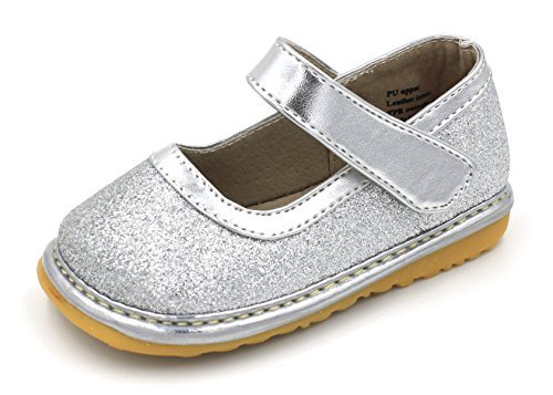 Little Mae's Boutique Mary Jane Silver Sparkle Squeaky Shoes for Toddler Girls, Ideal Toddler Walking Shoes with Removable Squeaker and Adjustable Strap - Flexible Sole Baby Shoes (3)