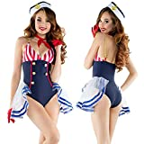 HJG Décolleté en V Sling Navy Sailor Costume Cosplay, Sexy Sailor Costume Majorette, Uniforme Musicale Femmes Déguisements,A