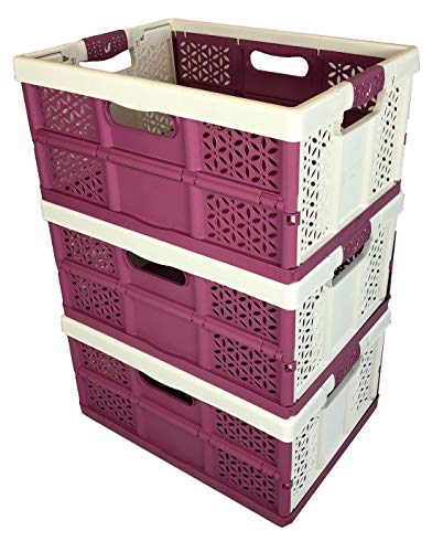 3 x 32 Litre White/Berry Extra Strong Folding Plastic Stacking Storage...
