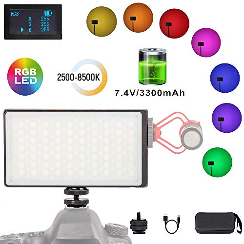 Mini Pocket 0-360 Vollfarb-RGB-Kamera-Beleuchtung Videoleuchte auf der Kamera für DSLR-Kamera-Camcorder Eingebauter 3300-mAh-Akku 2500K-8500K Einstellbar, 0-100% Stufenloses Dimmen CRI/TLCI 95+