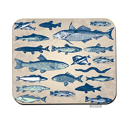 Swono Fish Mouse Pads Vintage Underwater World Sea Life Ocean Fish Icons Mouse Pad for Laptop Funny Non-Slip Gaming Mouse Pad for Office Home Travel Mouse Mat 7.9'X9.5'