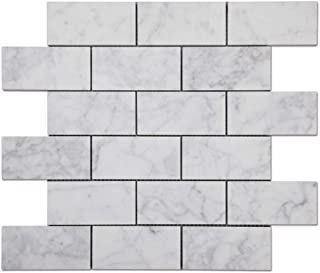 Diflart Italian White Carrara Marble Mosaic Tile 2×4 inch Honed 5 Sheets/Box (Brick)