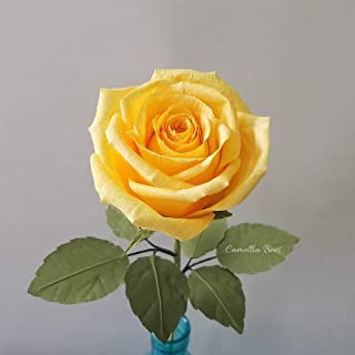 Yellow Rose Gift for Her Women, Handmade Paper Rose Look Like Real Fresh Long Stem Roses Flower, Great Anniversary with Gift Box, Wedding Anniversary Mother's Day Valentine Birthday Christmas