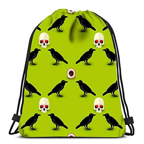 Lsjuee Rucksack Kordelzug Halloween Symbole mit Schädel Rabe und menschliches Auge auf Grün