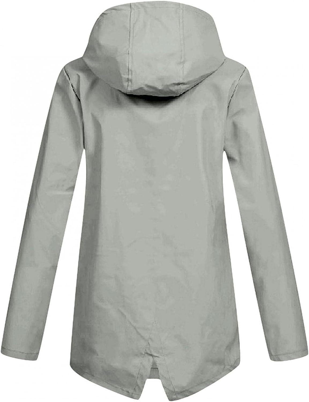 Women's Raincoats Windbreaker Rain Jacket Waterproof Lightweight Outdoor Active Hooded Trench Coats Hoodies