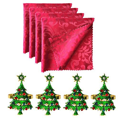 Aisszhao Christmas Table Decorations 4 Xmas Tree Napkin Rings & 4 Cloth Napkins,Dining Table Napkin Holders Napkin Cloth Christmas Dining Decoration for Home,Wedding,Hotel,Banquet Parties,Xmas Events