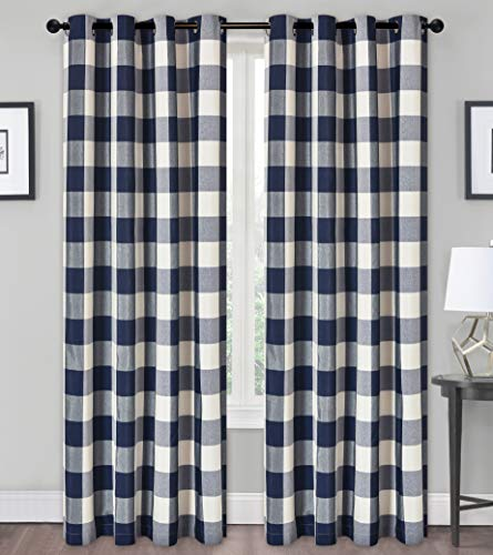 GoodGram Country Farmhouse Living Classic Buffalo Plaid Checkered Grommet Top Curtains - Assorted Colors & Sizes (Navy Blue, 84 in. Long)