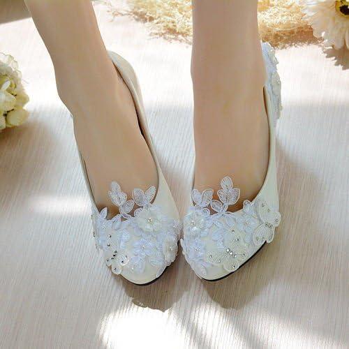 JINGXINSTORE Blanc Perle Papillon Dentelle mariée Mariage Partie de la Plate-Forme de Talons Hauts Chaussures
