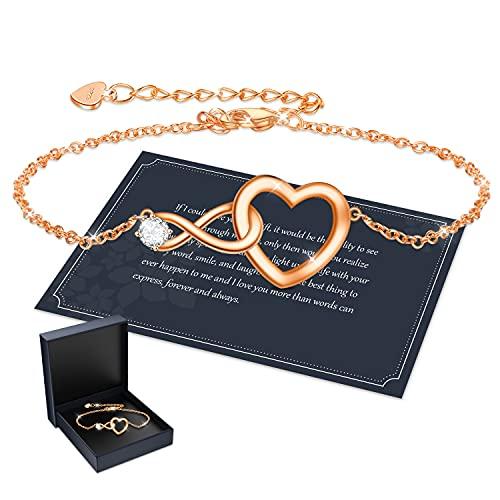 Pulsera para mujer, plata de ley S925, pulsera deslizante de cristal ajustable, pulsera infinita, pulsera de cristal azul, regalo para mamá, plata, rosa y dorado, Plata,