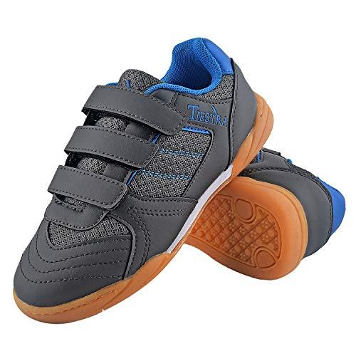 TIESTRA Zapatillas de Deporte Interior Unisex Niños, Zapatillas de Deporte Niños Ligeras Transpirable Zapatos de Correr Antideslizante Sneakers, Zapatillas de Fútbol Unisex Niños, Gris EU34