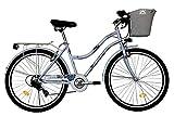 T&Y Trade 28 Zoll Mädchen Damen City Fahrrad Damenfahrrad Cityfahrrad Citybike Cityrad Mädchenfahrrad Bike Rad 7 Gang 5300 Hellblau Light Blue