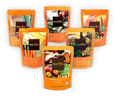 Real Food Blends Variety Case Pureed Blended Meal for Feeding Tubes, 9.4 oz Pouch (6 Flavors Per Case of 12 Pouches)