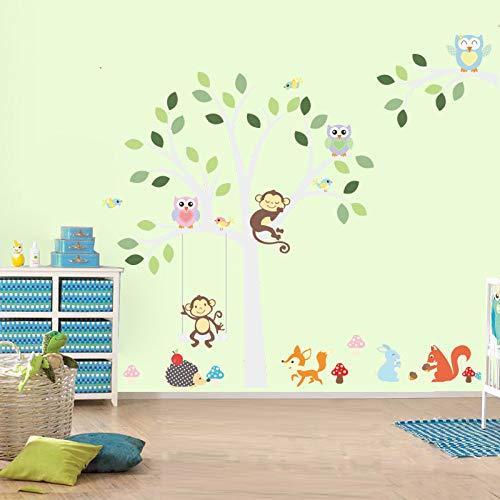 Witte boom muur Stickers Fox uil aap slapen Swing kinderen kamer vogel muur Stickers Vinyl stickers30X90cm