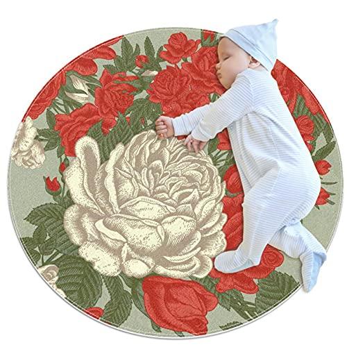 Alfombra de cocina lavable para entrada, alfombra de escritorio, alfombra de baño, color blanco y rojo, rosas 39.4 x 39.4 pulgadas