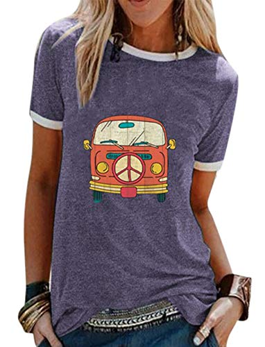 Camiseta Estampada de autobús de Dibujos Animados para Mujer de Manga Corta con Cuello en O de Verano Casual Suelta Ajuste Linda Camiseta gráfica Tops S - XXXL