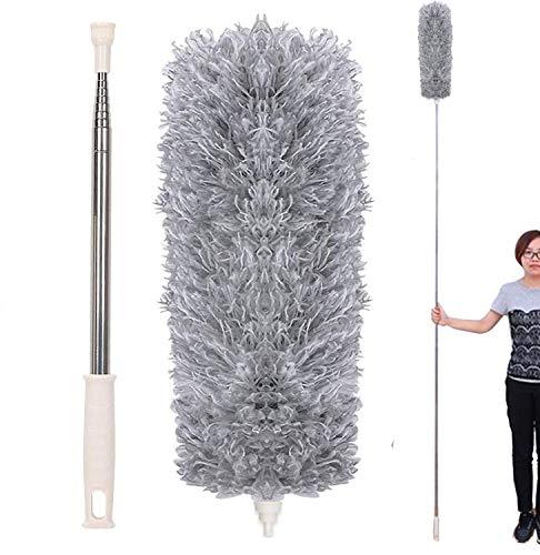 EigPluy Plumero de Microfibra,Plumero Atrapapolvo Extensible con Poste Telescópico Largo de 100 Pulgadas(2.8m),Cepillo de Limpieza para Telarañas de Polvo en Ventiladores/Luces/Persianas
