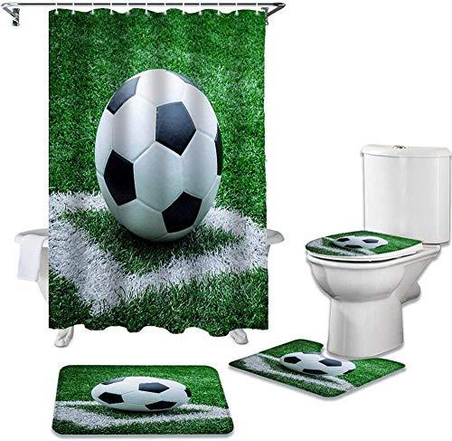 EFGHK 4-teiliges Duschvorhang-Set Fußball Rasen Duschvorhang Set WC-Abdeckung WC rutschfeste Matte wasserdicht Bad Vorhang WC-Set