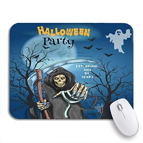 PONIKUCY Gaming und Office Mauspad,Halloween Party Text essen trinken und beängstigend sein Horror,rutschfester Unterseite