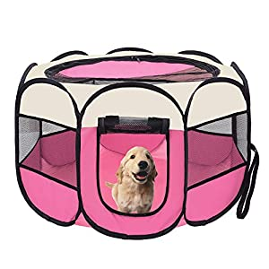 afuLaI 40″ Portable Foldable Pet Playpen Exercise Pen Kennel with Carrying Case for Dog Cat Rabbit Hamster Indoor/Outdoor Use, Pink