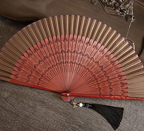 Yowinlo Faltfächer Hand Fächer Großer Roter Weiblicher Bambusgriff des Chinesischen Artfächers Faltender Fan Cheongsam Tanzfächer D