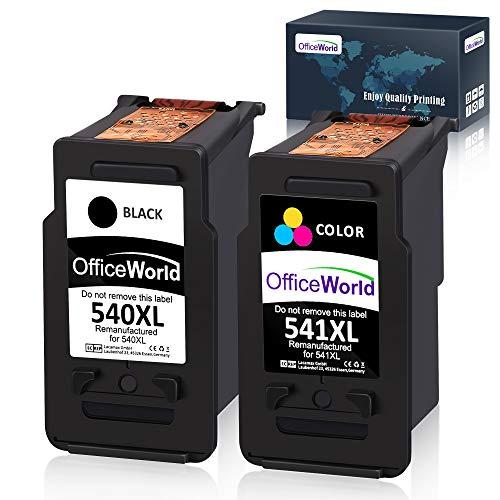 OfficeWorld Remanufactured Kompatibel Canon PG-540 CL-541 Tintenpatronen (1 Schwarz, 1 Farbe) Kompatibel für Canon Pixma TS5150 MG2100 MG2150 MG2200 MG2250 MG3100 MG3150 MG3200 MG3250 MG3255