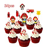 24pc Firefighter Fireman Fire Truck Fire extinguisher Cupcake Toppers for Birthday Party Firefighter is a hero