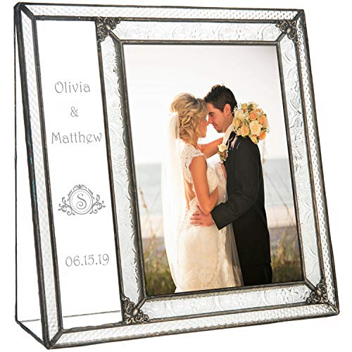 Wedding Picture Frame Personalized Engraved Glass Keepsake Newly Wed Couple J Devlin Pic 393-57V EP632