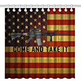 Wknoon 72 x 72 Inch Come and Take It Shower Curtain, Cool Ar-15 Gun Quote with Vintage Wooden USA Flag, Waterproof Polyester Fabric Decorative Bathroom Bath Curtains