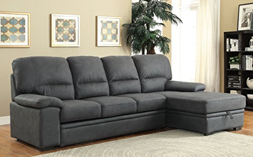 Furniture of America Canby Contemporary Sectional with Sleeper & Chaise, Graphite