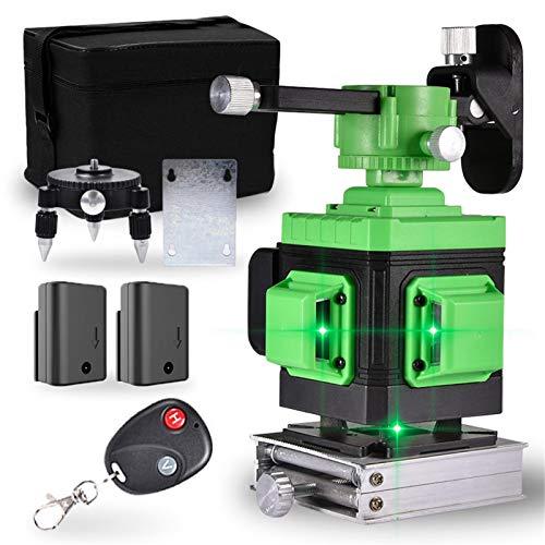 Green Leveling Laser Level 3x360 Cross Line 3D Green Beam Selbstnivellierendes Nivellieren und Ausrichten in drei Ebenen Zwei 360 ° vertikale und eine 360 ° horizontale Linie - Magnetisch schwenkbar