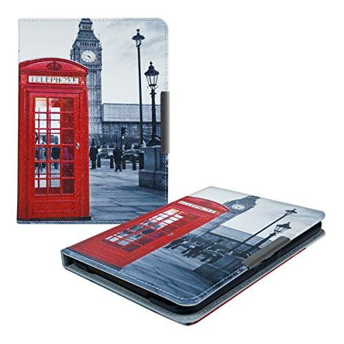 kwmobile Hülle kompatibel mit Tolino Vision 1/2 / 3/4 HD - Kunstleder eReader Schutzhülle Cover Case - Telefon Big Ben Rot Schwarz Weiß