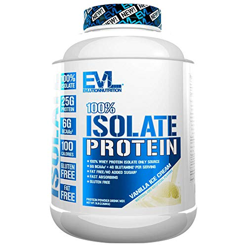 Evlution Nutrition 100% Isolate, Whey Isolate Protein Powder, 25 G of Fast Absorbing Protein, No Sugar Added, Low-Carb, Gluten-Free (Vanilla Ice Cream, 5 LB)
