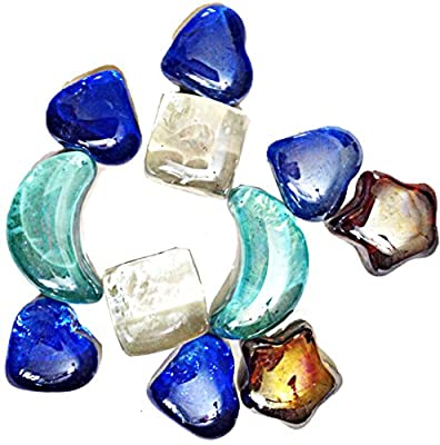 Decorative Heart Moon Stars Shaped Glass Colored Stones Gemstones