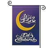 AVOIN Eid Garden Flag Vertical Double Sided, Moon Holiday Flag Yard Outdoor Decoration 12.5 x 18 Inch