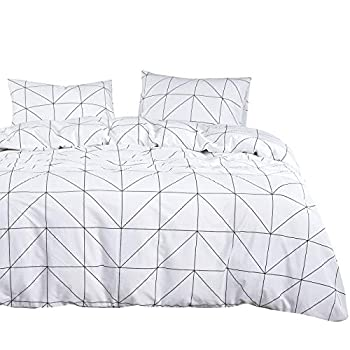 Wake In Cloud - Geometric Comforter Set 100% Cotton Fabric with Soft Microfiber Fill Bedding Black Pattern Printed on White  3pcs Queen Size
