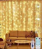 LED Lichtervorhang - 3Mx3M 300 LED Lichterkettenvorhang 12 Modi IP65 Wasserdicht USB Lichterketten Vorhang für Garten, Pavillon, Party, Weihnachten, Schlafzimmer,Warmweiß