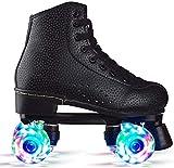 CRXL shop-Mantas Eléctricas Roller Speed - Patín de Cuatro Ruedas Patines de Ruedas para Hombres y Mujeres Adultos Zapatos de Ruedas Botas de Cuero Transpirables (Color : Black Flash, Size : 38)