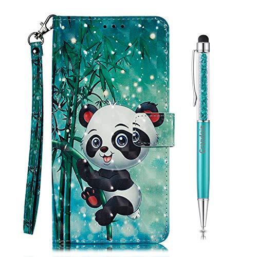 Grandoin Hülle für Samsung Galaxy A90 5G, PU Leder Etui Flip Cover Book Hülle Prägung Muster Schutzhülle Handytasche Handyhülle [Ständer Kartenfach] [Magnetverschluss] (Panda)