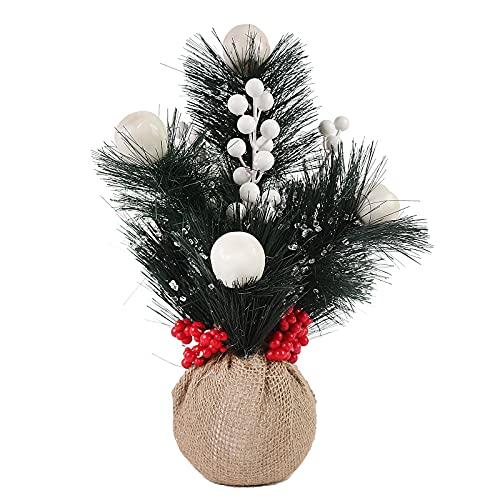 RThNDM Mini árbol de Navidad artificial de 30 cm con conos de pino, bayas rojas, ahora agujas de pino y bolsa de tela, decoración interior de Navidad para el hogar y la oficina