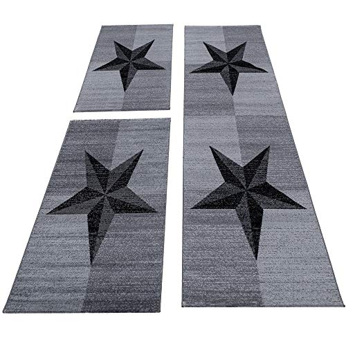 Bettumrandung Läufer Teppich Stern Muster Schwarz Grau meliert Läuferset 3 TLG, Maße:2 x 80 x 150 cm & 1 x 80 x 300 cm
