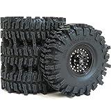 4pcs RC 1.9 Mud Slingers Tires Super Grip Tyres Height 120mm / 4.72inch & Aluminum 1.9 Heavy Duty Beadlock Wheel Rims Black Color