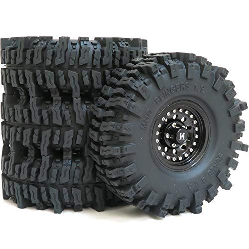 hobbysoul 4pcs RC 1.9 Mud Slingers Reifen Super Grip Reifen Höhe 120mm / 4.72inch & Aluminium 1.9 Heavy Duty Beadlock Rad felgen Schwarze Farbe