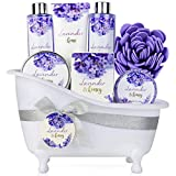Bade Geschenkset, Body & Earth 8-teiliges Badeset Duft Lavendel und Honig - beinhaltet Schaumbad,...