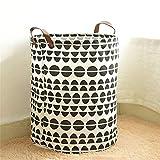 LiChaoWen Cesta para la colada con cuero impermeable de algodón redondo plegable cesta de almacenamiento de ropa grande cesta de la colada (color: A, tamaño: 35 x 45 cm)