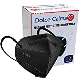 Dolce Calma KN95 Face Mask 50 Pack, Black Masks 50 Pcs, 5-Layer Filtration Cup Dust Filter Cover for Men & Women, Individually Wrapped, Updated Breathable