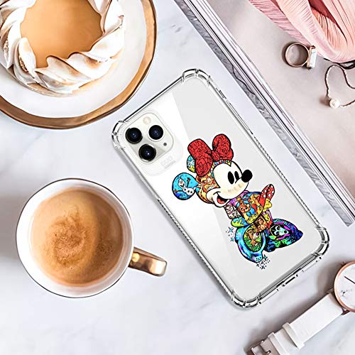 DISNEY COLLECTION iPhone 11 Pro Max Case 2019 6.5 Inch Colorful Minnie Soft Flexible TPU Ultra-Thin Shockproof Transparent Bumper Protective Cover Case