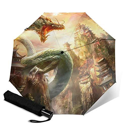 Dragon,Waterproof Automatic Folding Umbrella Manual Tri-Fold Umbrella Portable Compact Umbrella for Daily