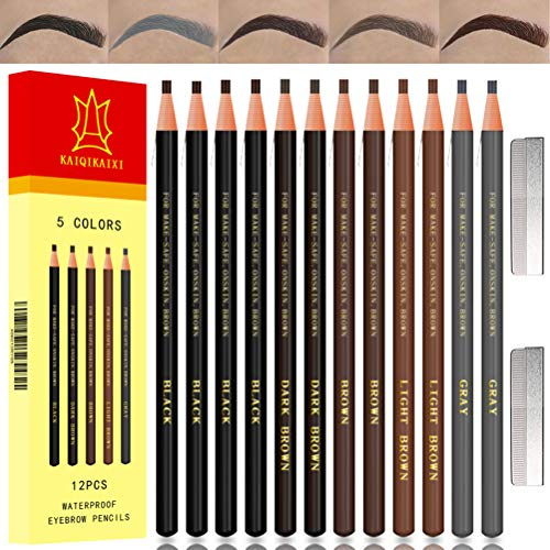 eye brow pencils Waterproof Eyebrow Pencils Brow Pencil Set For Marking, Filling And Outlining, Tattoo Makeup And Microblading Supplies Kit-Permanent Eye Brow Liners In, 12Pcs 5Colors(4Black6Brown2Gray)(Multicolor)